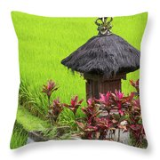 Shrine In Rice Field Throw Pillow