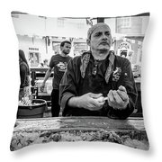 Shucking Oysters 2 - French Quarter- Bw Throw Pillow