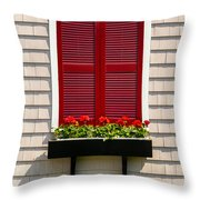 Shutter And Flowers Throw Pillow