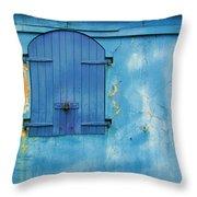 Shuttered Blue Throw Pillow