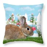 Shy Brown Dwarf Bunny Portrait Throw Pillow