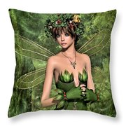 Shy Fairy Throw Pillow
