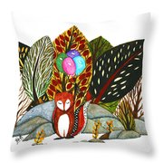 Shy Fox With Balloons  Throw Pillow