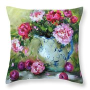 Shy Plums And Pink Peonies Throw Pillow