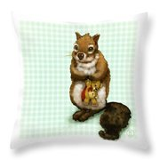 Shy Squirrel Throw Pillow