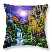 Siamese Cat By A Cascading Waterfall Throw Pillow