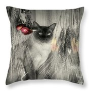 Siamese Cat In Black And White Throw Pillow
