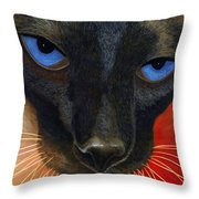 Siamese Throw Pillow by Karen Zuk Rosenblatt