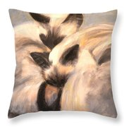 Siamese Lovers Throw Pillow