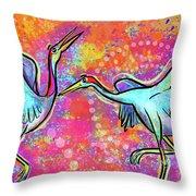 Siberian Cranes Throw Pillow