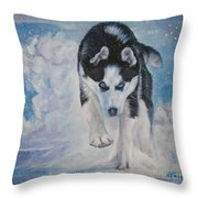 Siberian Husky Run Throw Pillow