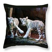 Siberian Tiger Cubs Throw Pillow