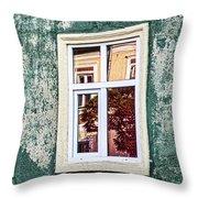 Sibiu Window Reflections - Romania Throw Pillow