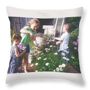 Siblings In Spring Throw Pillow