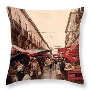 Sicilian Market After The Rain Throw Pillow