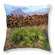 Sicilian Port With Old Anchors Throw Pillow