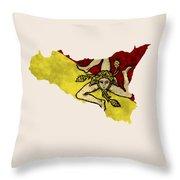 Sicily Map Art With Flag Design Throw Pillow