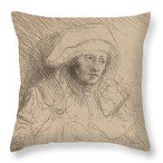 Sick Woman With A Large White Headdress (saskia) Throw Pillow