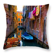 Side Canal  Venice Throw Pillow