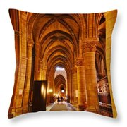Side Hall Notre Dame Cathedral - Paris Throw Pillow
