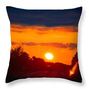 Side Mirror Sunset Throw Pillow