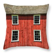 Side Of Barn And Windows At Old World Wisconsin Throw Pillow