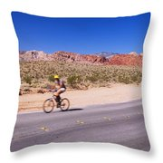 Side Profile Of A Person Cycling Throw Pillow