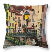 Side Streets In Annecy Throw Pillow