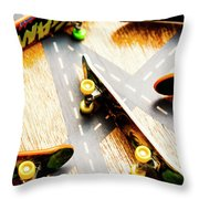 Side Streets Of Skate Throw Pillow