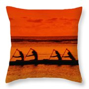 Side View Of Paddlers Throw Pillow
