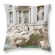Side View Of The Trevi Fountain In Rome Throw Pillow