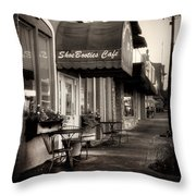 Sidewalk At Shoebooties Cafe In Black And White Throw Pillow