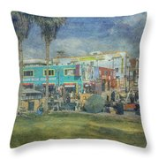 Sidewalk Cafe Venice Ca Panorama  Throw Pillow