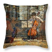 Sidewalk Cellist Throw Pillow