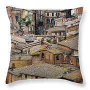 Siena Colored Roofs And Walls In Aerial View Throw Pillow