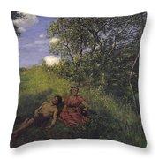 Siesta Throw Pillow by Hans Thoma