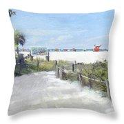Siesta Key Public Beach Access Throw Pillow