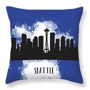 Seattle Skyline Silhouette Throw Pillow