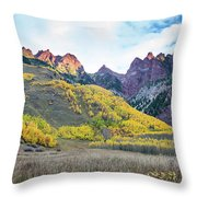 Sievers Peak And Golden Aspens Throw Pillow