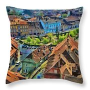 Sighisoara From Above Throw Pillow