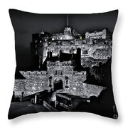 Sights In Scotland - Castle Bagpiper Throw Pillow