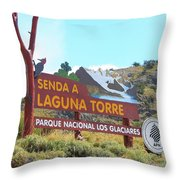 Trail Sign To Laguna Torre Throw Pillow
