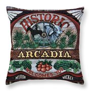 Sign - Welcome To Arcadia Throw Pillow