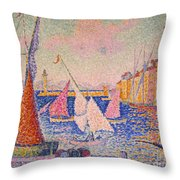 Signac: St. Tropez Harbor Throw Pillow by Granger
