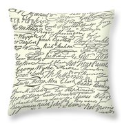 Signatures To The Declaration Of Independence Throw Pillow