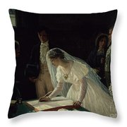 Signing The Register Throw Pillow by Edmund Blair Leighton