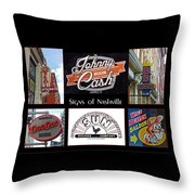 Signs Of Nashville Throw Pillow
