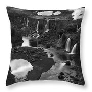 Sigoldufoss Waterfalls Iceland 1294 Throw Pillow