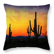 Sihouette Sunrise In The Sonoran Throw Pillow