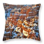 Silent City Snowy Hoodoos Throw Pillow